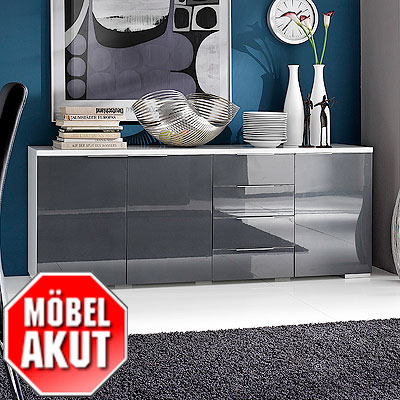 sideboard coast kommode wei grau hochglanz neu ebay. Black Bedroom Furniture Sets. Home Design Ideas