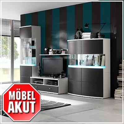 wohnwand racer anbauwand in anthrazit wei neu ebay. Black Bedroom Furniture Sets. Home Design Ideas