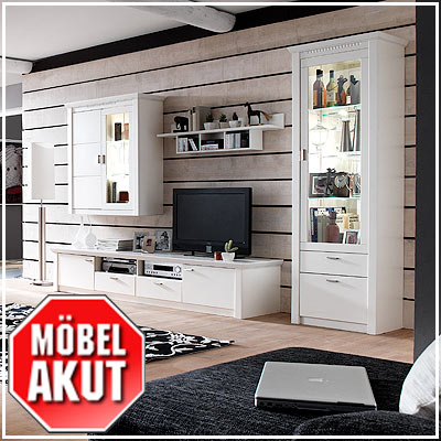 wohnwand plano anbauwand in creme wei lack neu. Black Bedroom Furniture Sets. Home Design Ideas