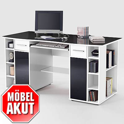 schreibtisch athena tisch in wei glas schwarz neu ebay. Black Bedroom Furniture Sets. Home Design Ideas