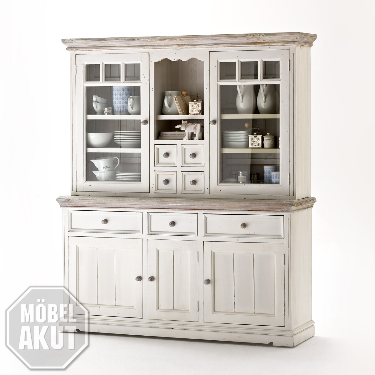 vitrine opera buffet in kiefer massiv wei neu ebay. Black Bedroom Furniture Sets. Home Design Ideas