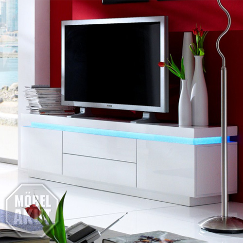 lowboard wei hochglanz led. Black Bedroom Furniture Sets. Home Design Ideas