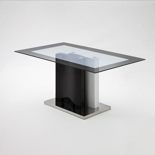 Esstisch tyler 160x90 cm glasplatte s ulentisch in schwarz for Esstisch schwarz hochglanz