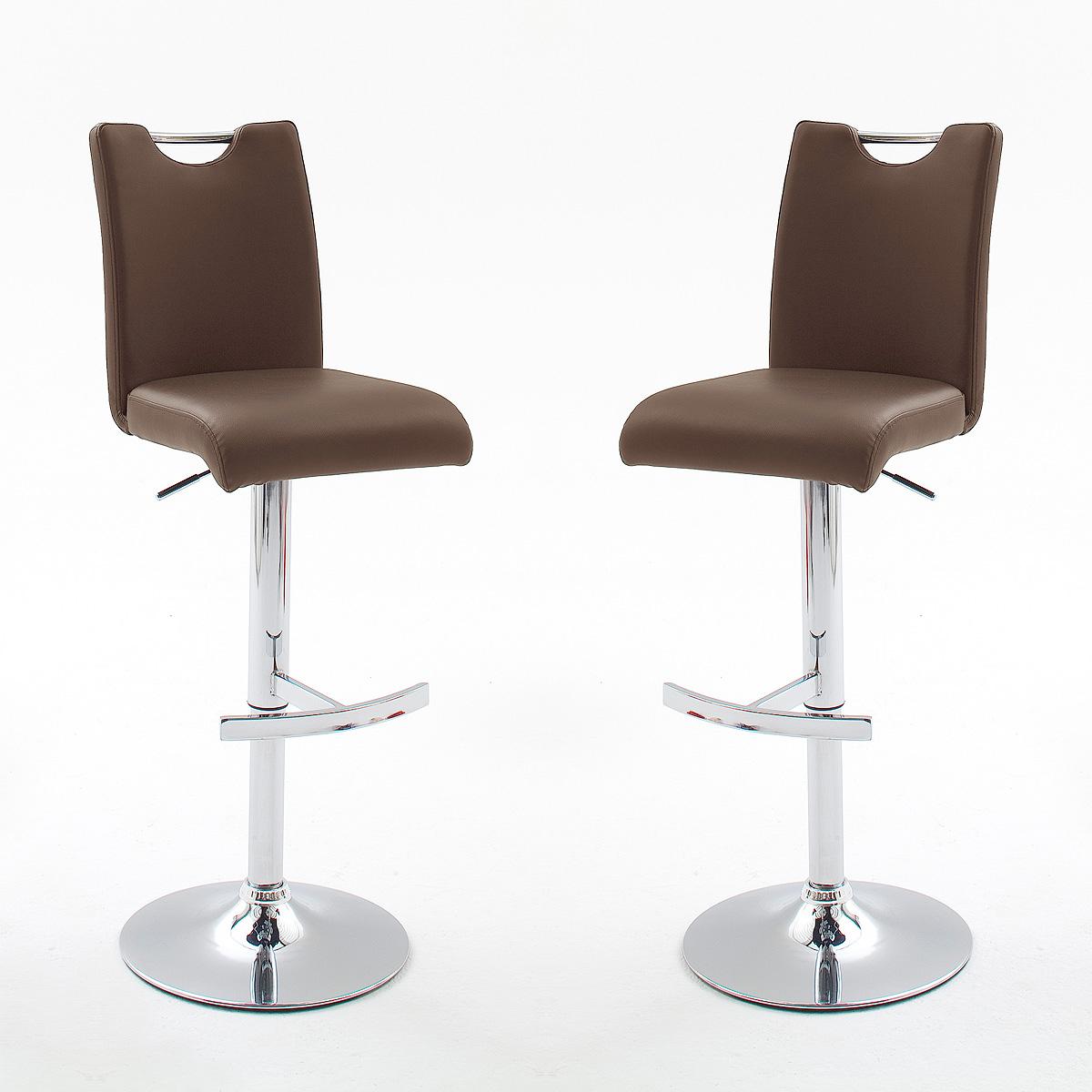 2er set barhocker aachen hocker braun chrom h henverstellbar ebay. Black Bedroom Furniture Sets. Home Design Ideas