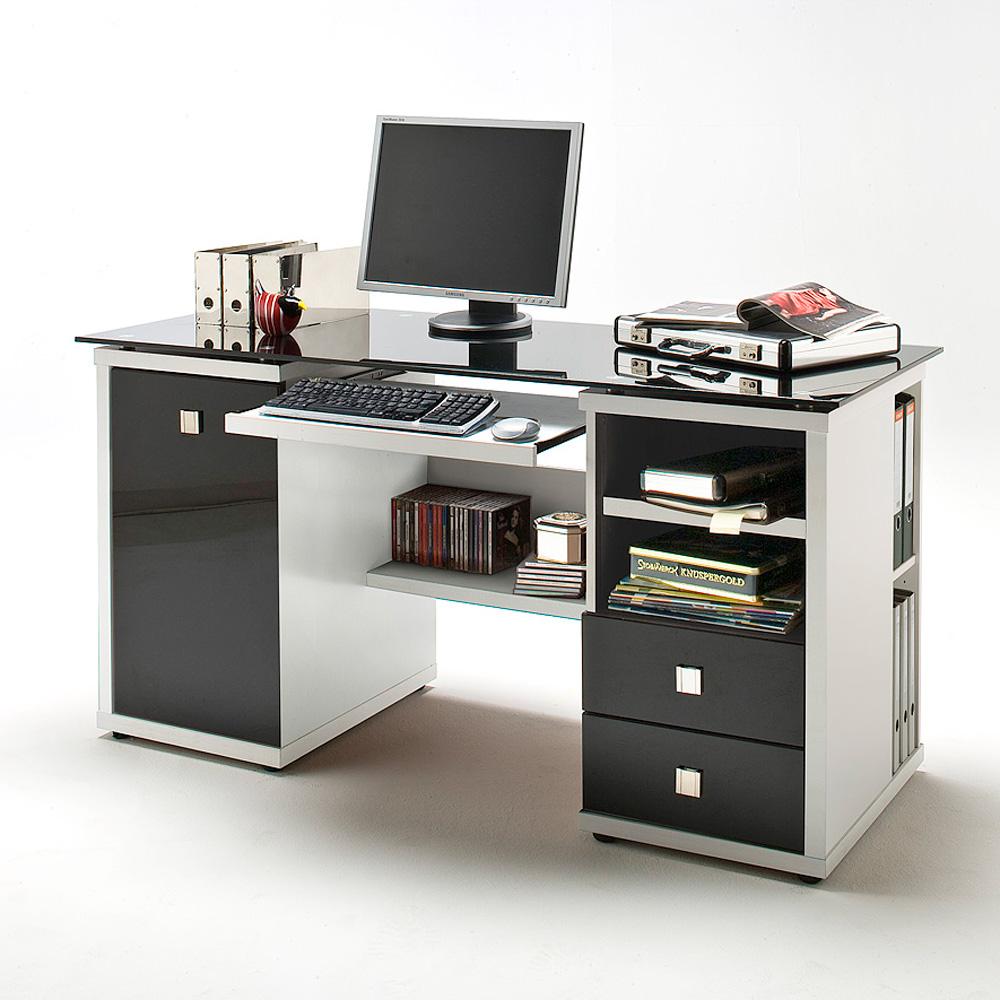schreibtisch computer tisch micro in wei und glas schwarz neu ebay. Black Bedroom Furniture Sets. Home Design Ideas