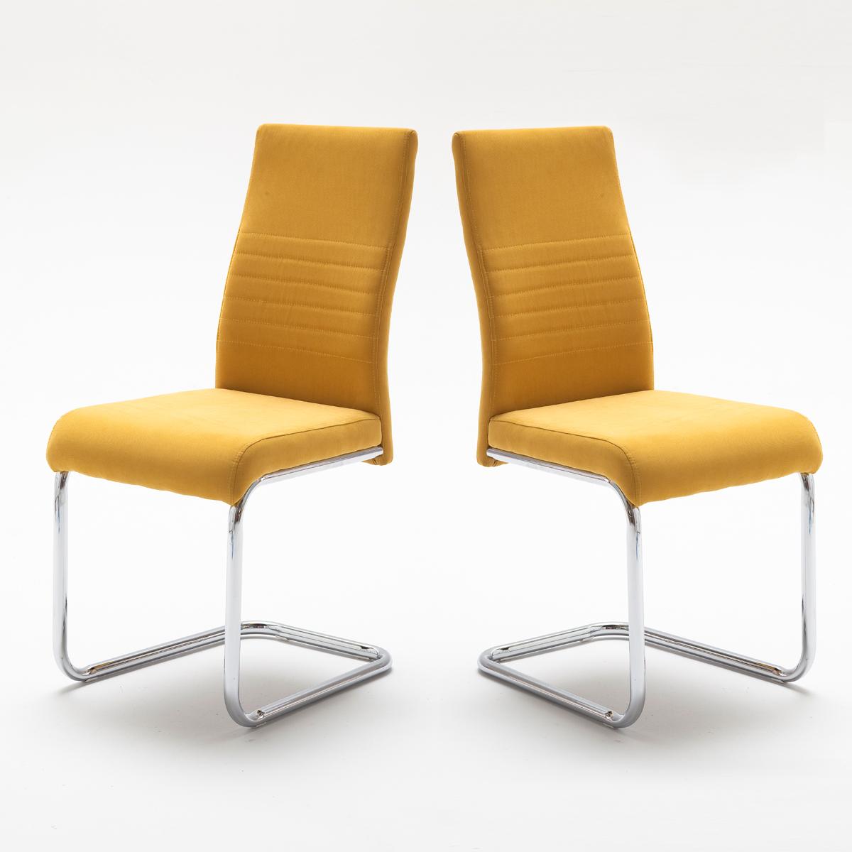 schwingstuhl 4er set jonas esszimmerstuhl stuhl in curry gelb und chrom ebay. Black Bedroom Furniture Sets. Home Design Ideas