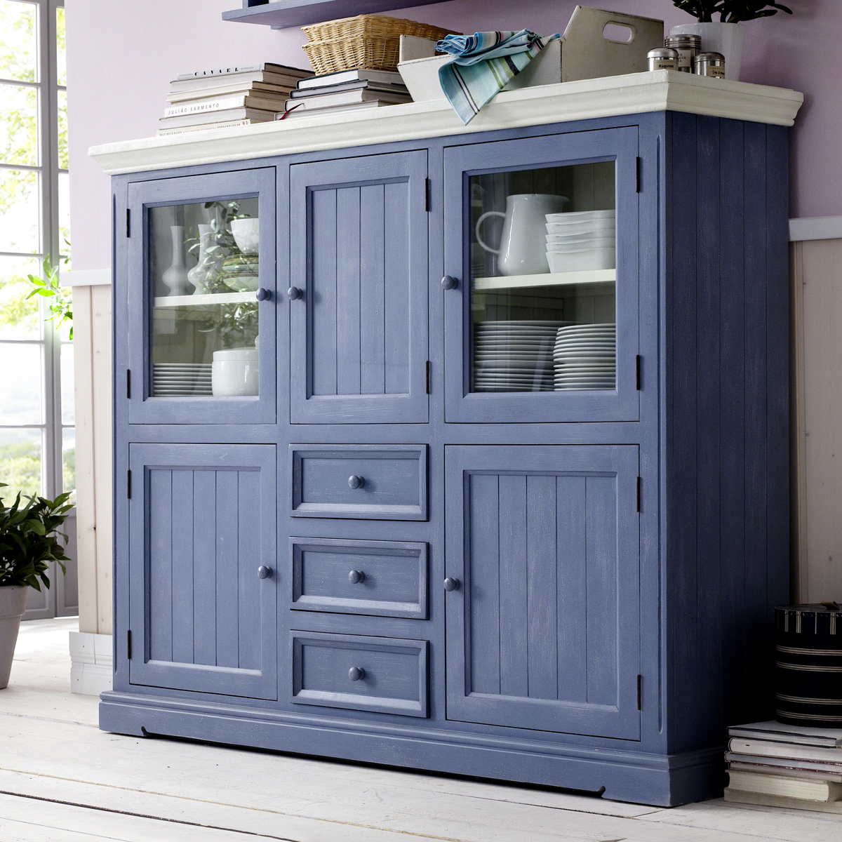 highboard falun buffet schrank kiefer teil massiv in brilliant blau und wei ebay. Black Bedroom Furniture Sets. Home Design Ideas