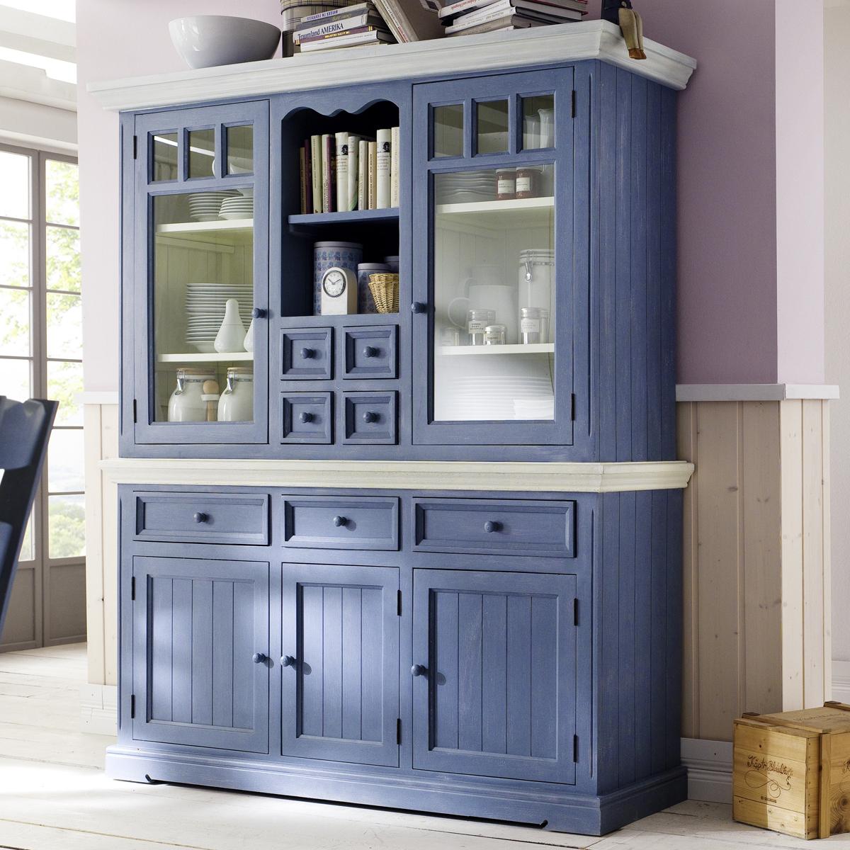 buffet falun vitrine schrank highboard kiefer massiv in brilliant blau und wei ebay. Black Bedroom Furniture Sets. Home Design Ideas