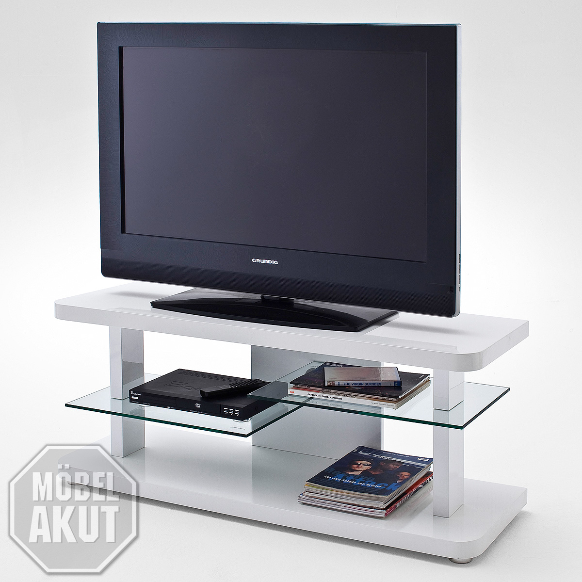 tv board cult lowboard tv unterschrank wei hochglanz lack und glas ebay. Black Bedroom Furniture Sets. Home Design Ideas