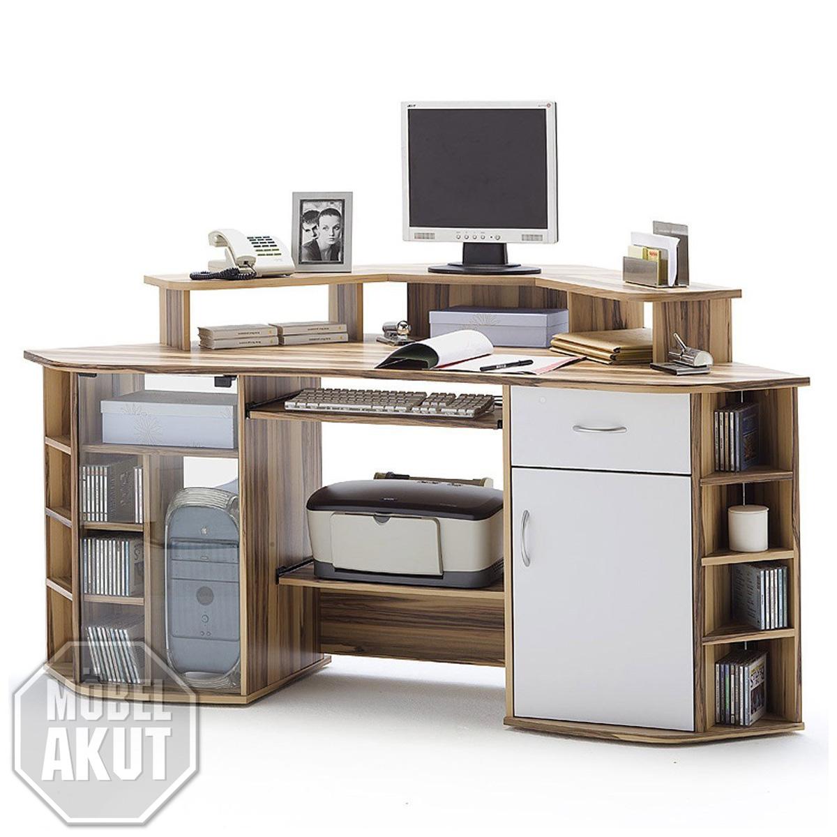 computertisch marcus schreibtisch pc tisch in baltimore walnuss wei ebay. Black Bedroom Furniture Sets. Home Design Ideas