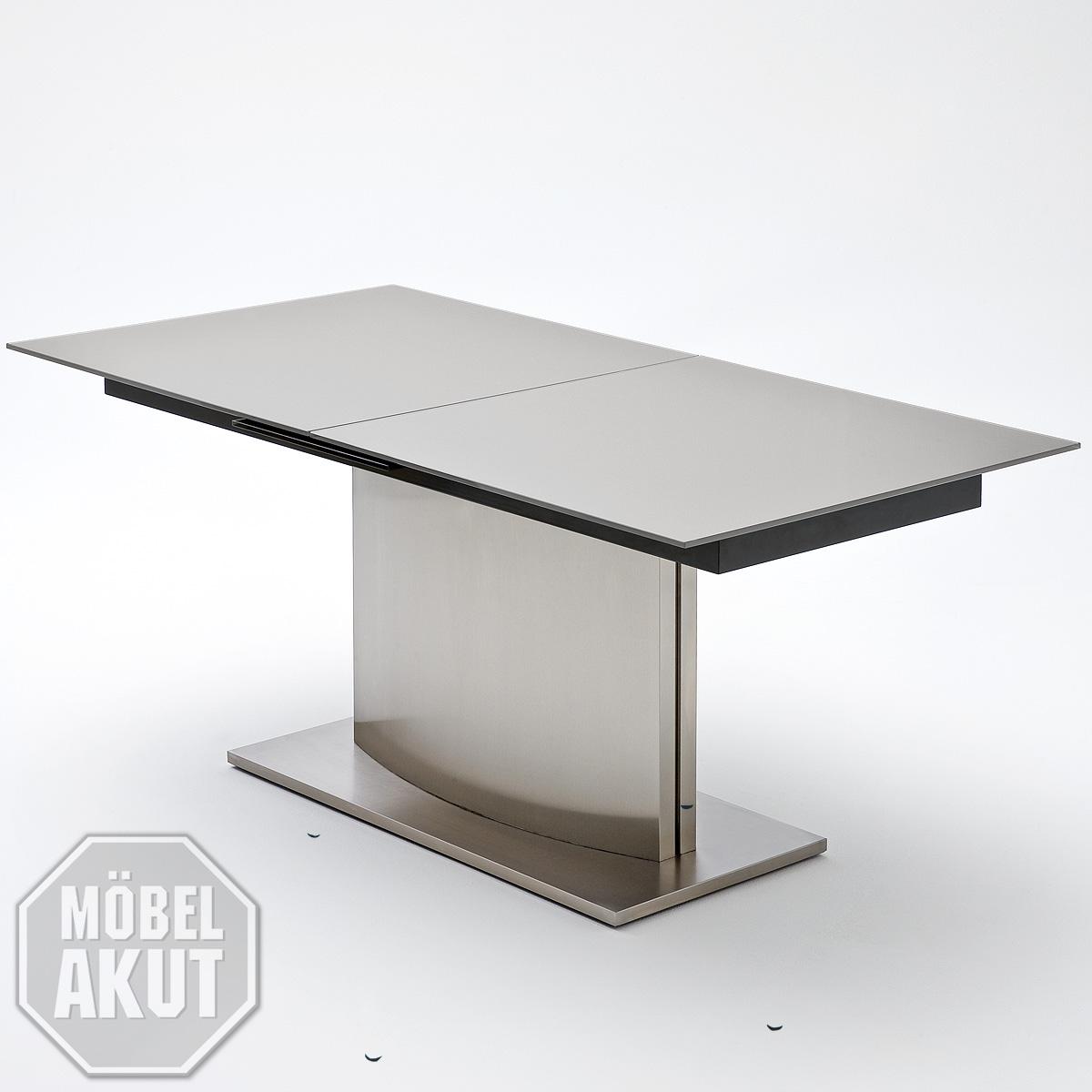 esstisch memory tisch esszimmertisch glas dunkel grau edelstahl ausziehbar ebay. Black Bedroom Furniture Sets. Home Design Ideas