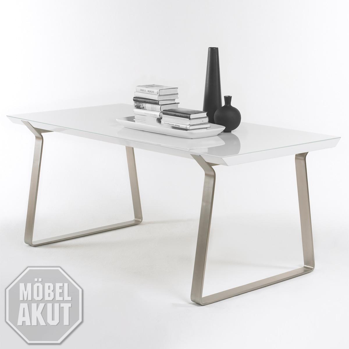 esstisch gambo tisch in wei hochglanz lack glas rein wei lackiert 160 cm ebay. Black Bedroom Furniture Sets. Home Design Ideas