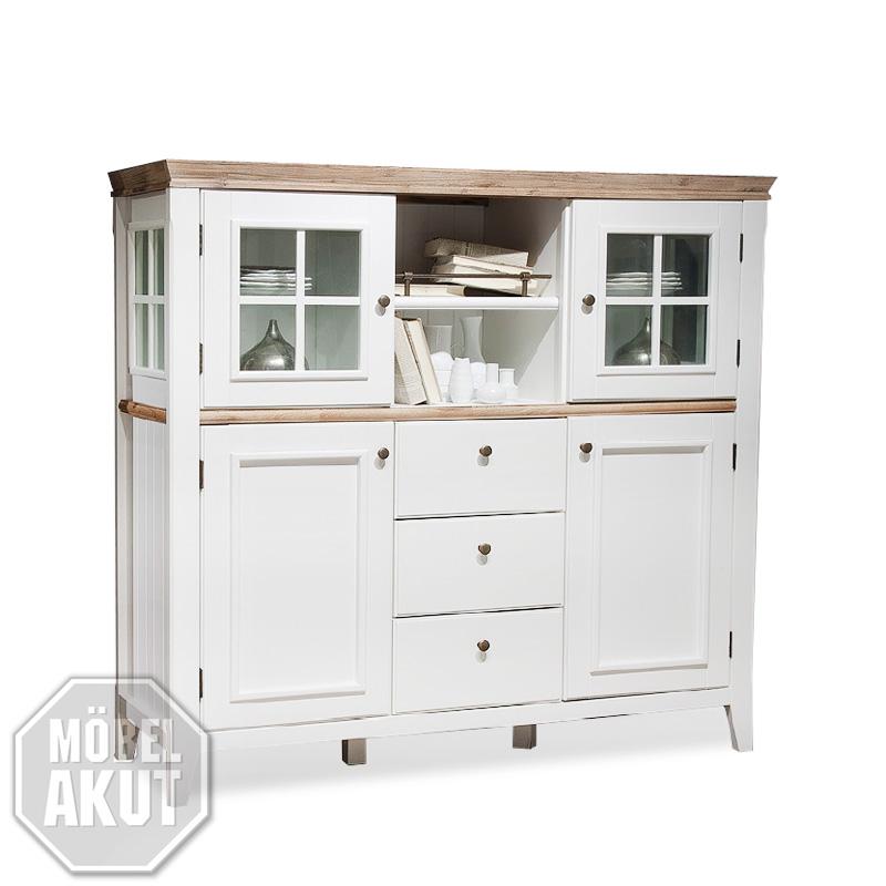 highboard malin buffet schrank in akazie teilmassiv wei. Black Bedroom Furniture Sets. Home Design Ideas