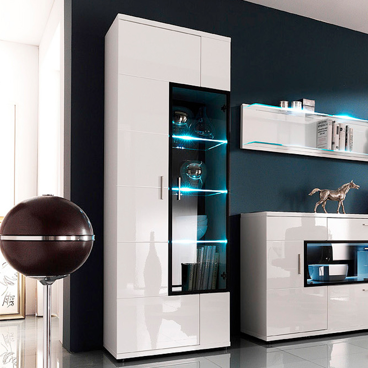 vitrine corano zweit rig links wohnzimmer schrank in hochglanz wei ebay. Black Bedroom Furniture Sets. Home Design Ideas