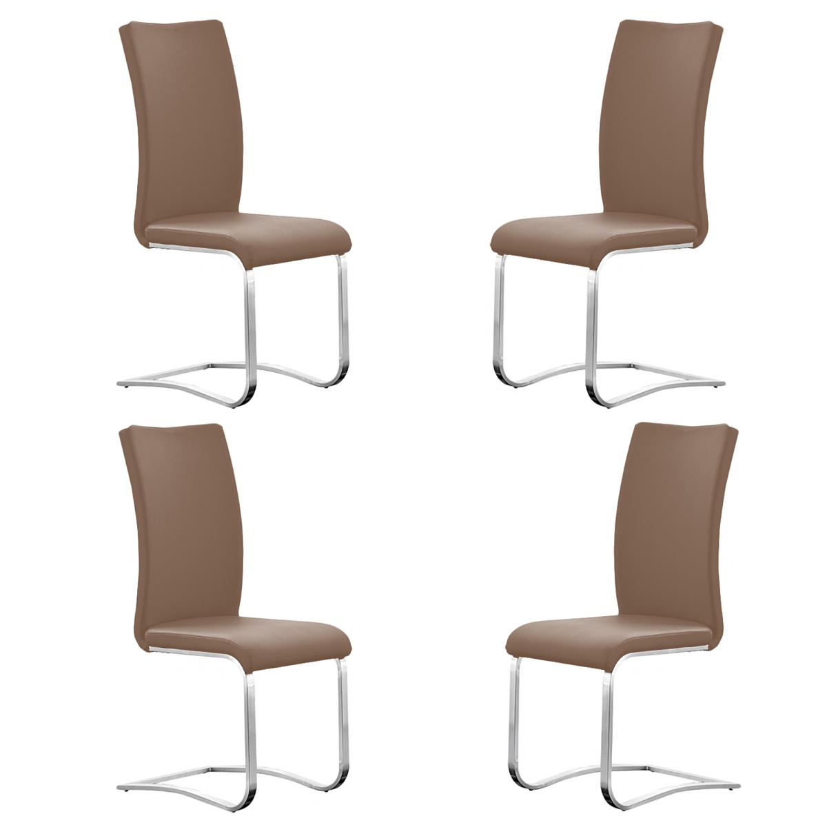 stuhl arco 4er set freischwinger st hle in cappuccino und edelstahl ebay. Black Bedroom Furniture Sets. Home Design Ideas