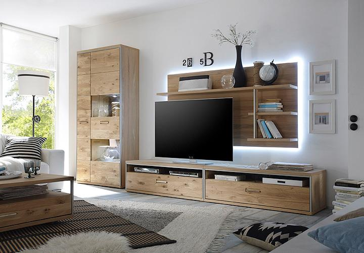 wohnwand 3 espero anbauwand wohnzimmer in ast eiche bianco teilmassiv ge lt ebay. Black Bedroom Furniture Sets. Home Design Ideas