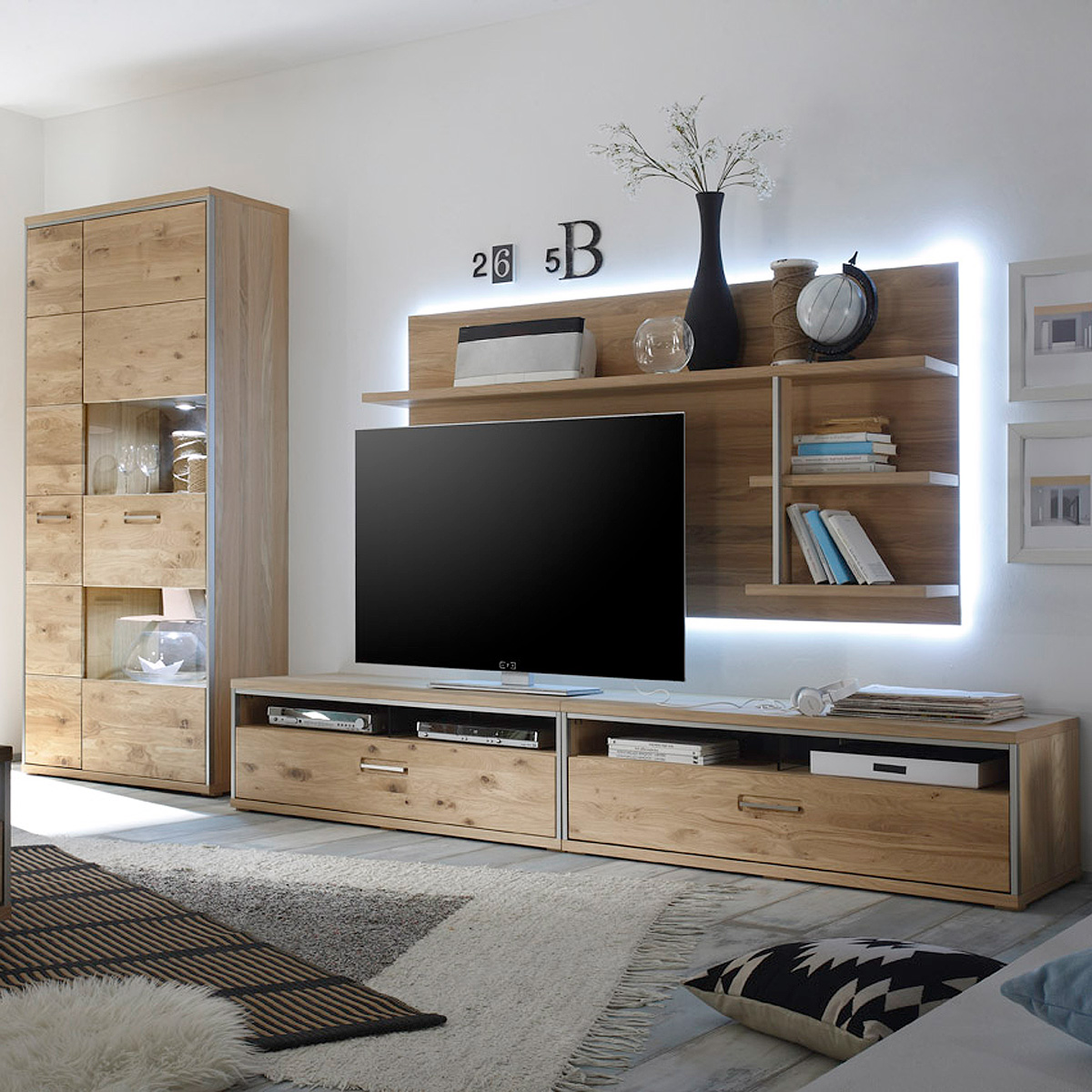 wohnwand 3 espero anbauwand wohnzimmer in ast eiche bianco. Black Bedroom Furniture Sets. Home Design Ideas