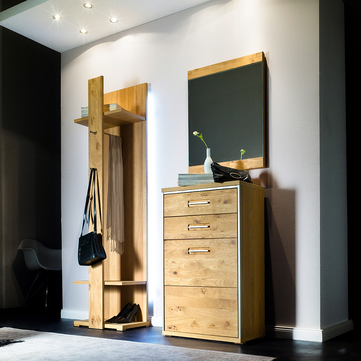 garderobenset 1 espero garderobe in ast eiche bianco teilmassiv ge lt ebay. Black Bedroom Furniture Sets. Home Design Ideas