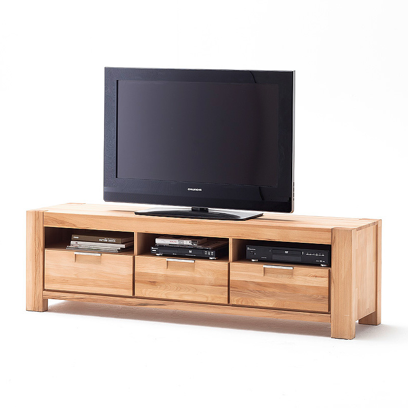 tv board drive unterschrank lowboard kernbuche massiv ge lt ebay. Black Bedroom Furniture Sets. Home Design Ideas