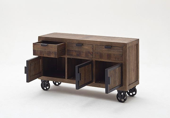 sideboard finca kommode recycle kiefer massiv antik braun. Black Bedroom Furniture Sets. Home Design Ideas