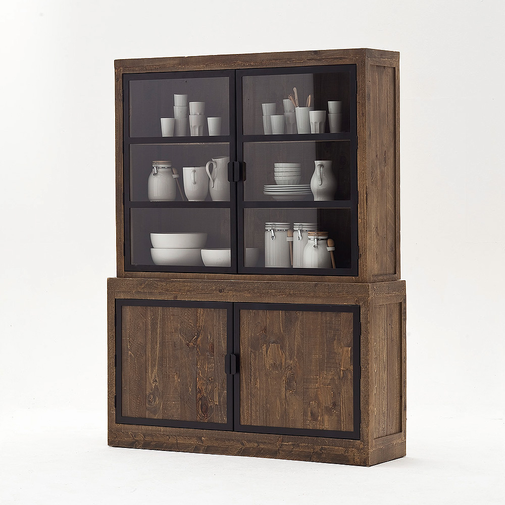 buffet finca vitrine highboard recycle kiefer massiv antik braun lackiert ebay. Black Bedroom Furniture Sets. Home Design Ideas