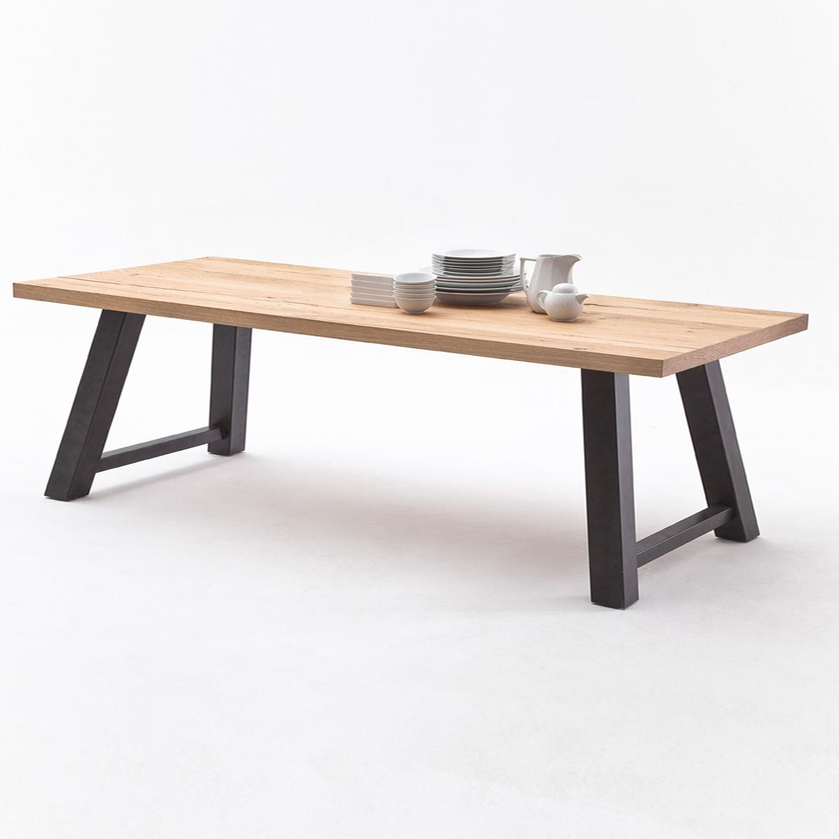 Tisch 1 alvaro esstisch in eiche natur massiv edelstahl for Esstisch edelstahl