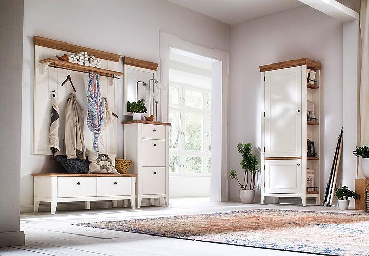 garderobenbank malin bank garderobe in akazie teilmassiv wei lack eur 369 95 picclick de. Black Bedroom Furniture Sets. Home Design Ideas