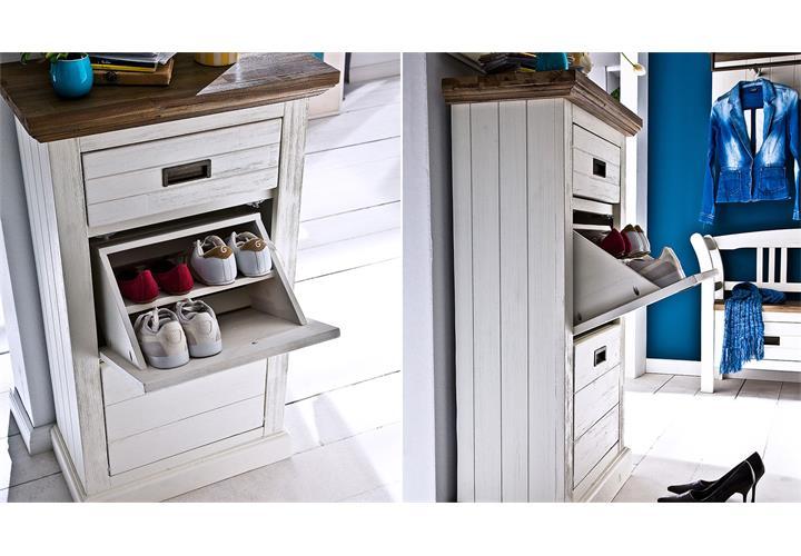 garderobenset 2 gomera garderobe bank schrank paneel akazie wei teilmassiv ebay. Black Bedroom Furniture Sets. Home Design Ideas