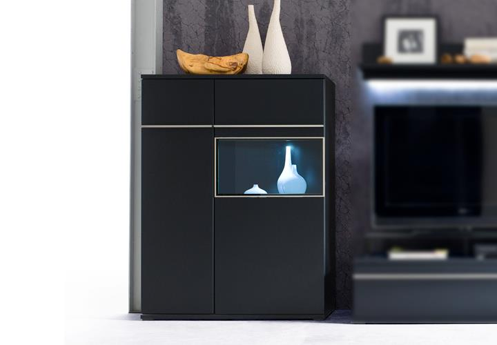 highboard links black schwarz matt lackiert glas mit edelstahlrahmen eur 249 95 picclick de. Black Bedroom Furniture Sets. Home Design Ideas