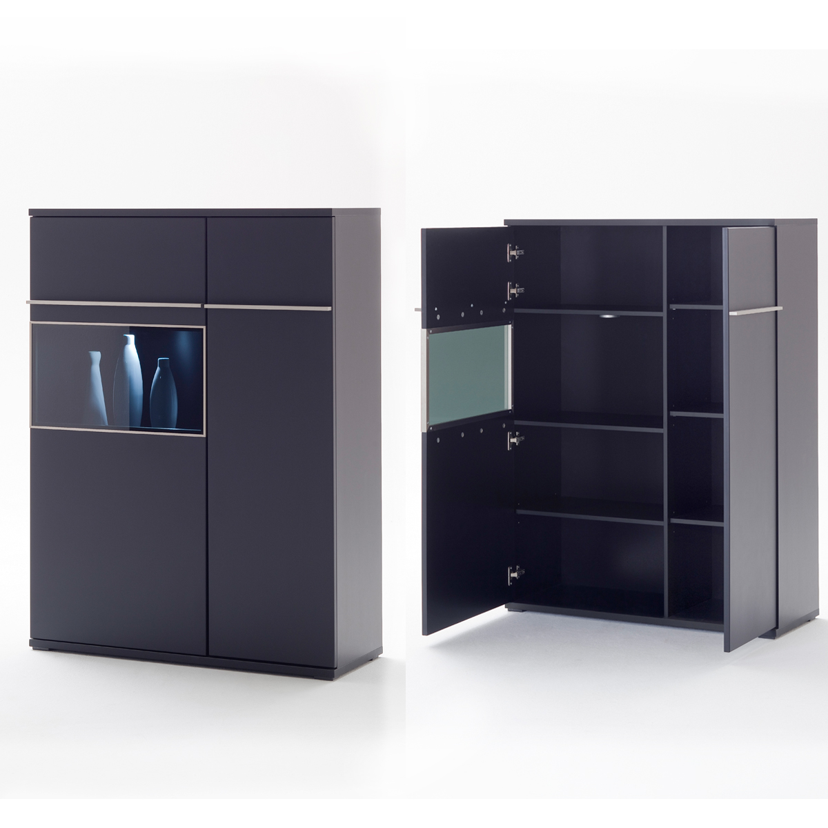 highboard rechts black schwarz matt lackiert glas mit edelstahlrahmen ebay. Black Bedroom Furniture Sets. Home Design Ideas