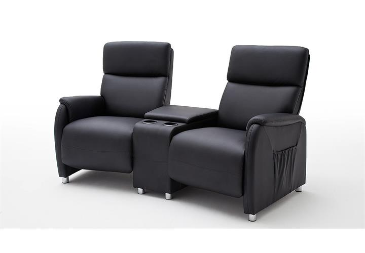 Kino 2er Sessel Dani Cinema Sofa Lederlook schwarz mit