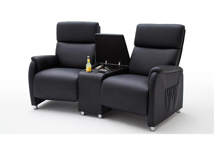 kino 2er sessel dani cinema sofa lederlook schwarz mit getr nkehalter. Black Bedroom Furniture Sets. Home Design Ideas