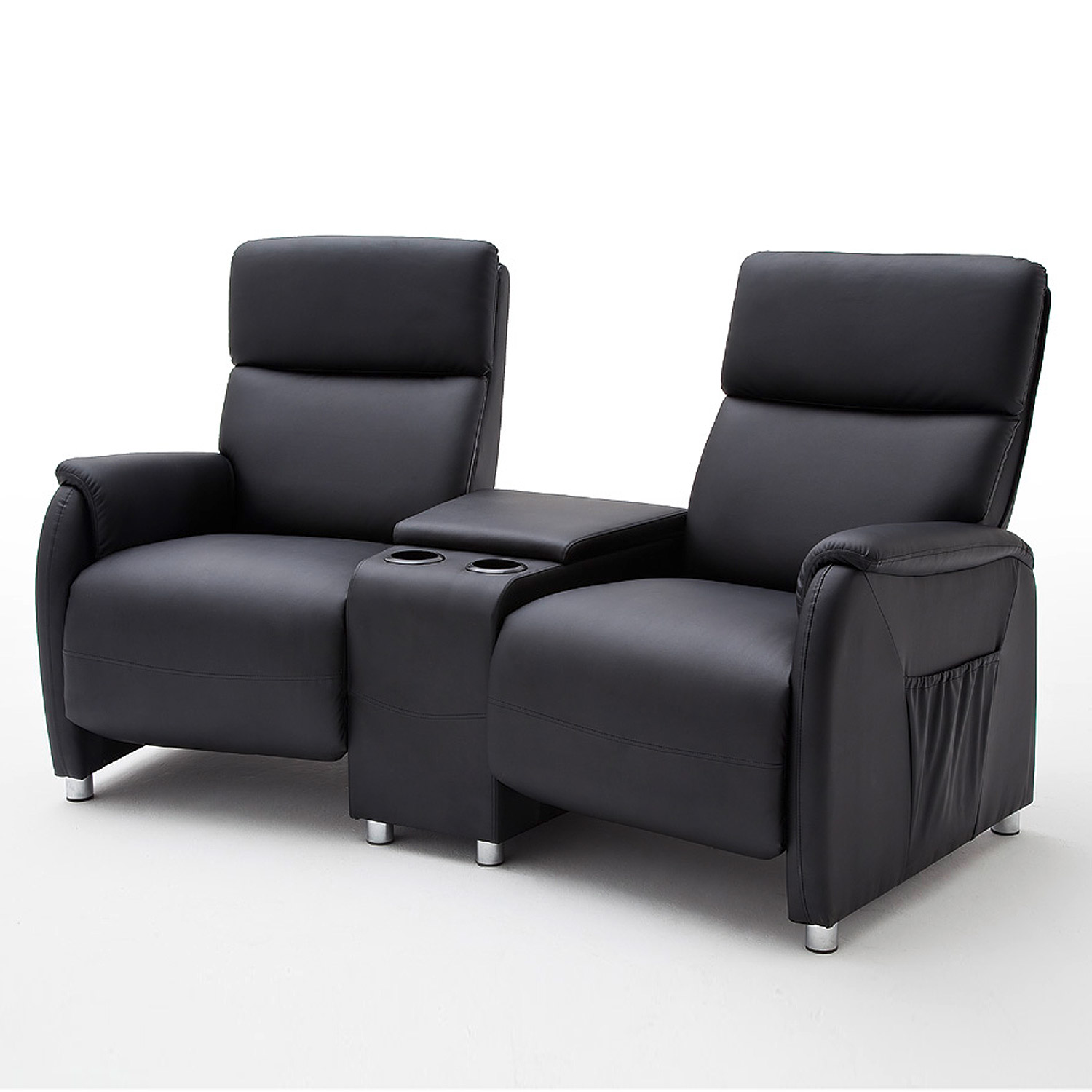 kino 2er sessel dani cinema sofa lederlook schwarz mit getr nkehalter ebay. Black Bedroom Furniture Sets. Home Design Ideas