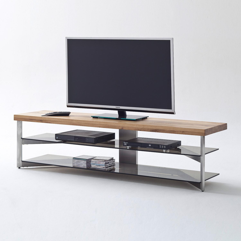 media rack fabia lowboard tv board eiche massiv glas grau. Black Bedroom Furniture Sets. Home Design Ideas
