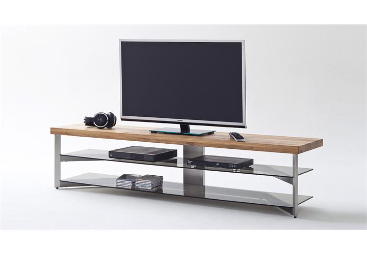 media rack fabia lowboard tv board eiche massiv glas grau metallgestell 180 cm. Black Bedroom Furniture Sets. Home Design Ideas