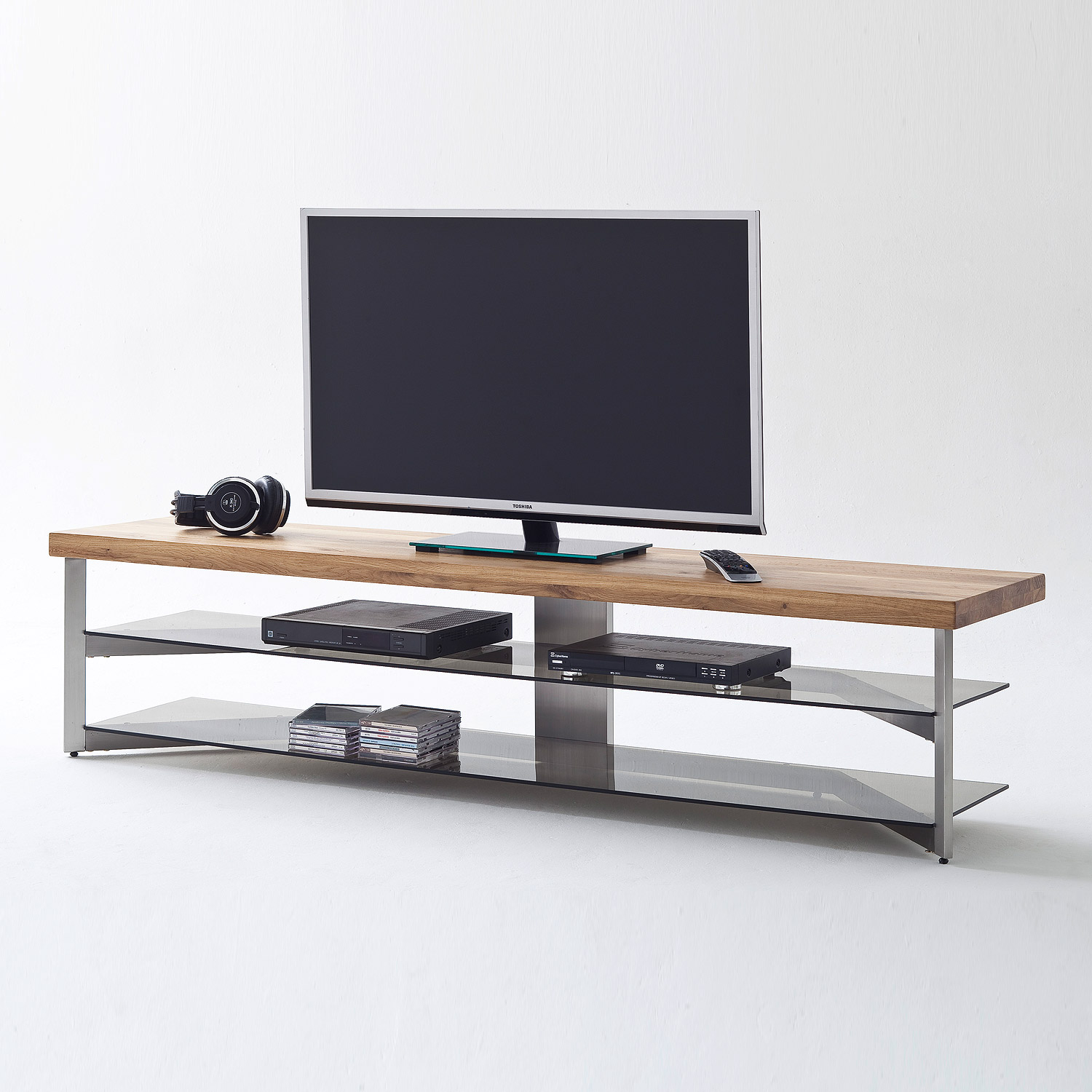 media rack fabia lowboard tv board eiche massiv glas grau. Black Bedroom Furniture Sets. Home Design Ideas