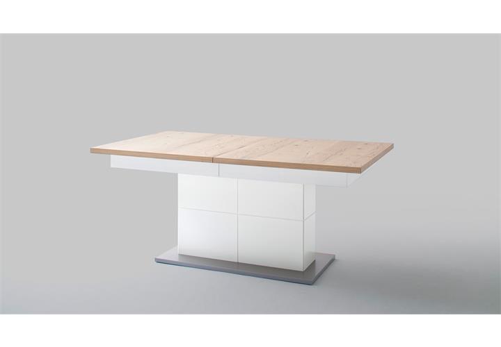 esstisch nizza tisch wei matt lack und crackeiche furniert mit synchronauszug ebay. Black Bedroom Furniture Sets. Home Design Ideas