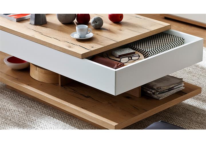 couchtisch nizza tisch in wei matt lack und crackeiche furniert ausziehbar ebay. Black Bedroom Furniture Sets. Home Design Ideas