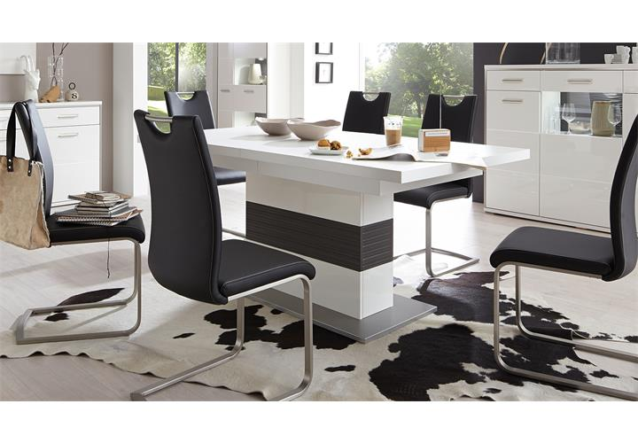 Esstisch trento säuelntisch tisch ausziehbar weiß und grau 180 ...