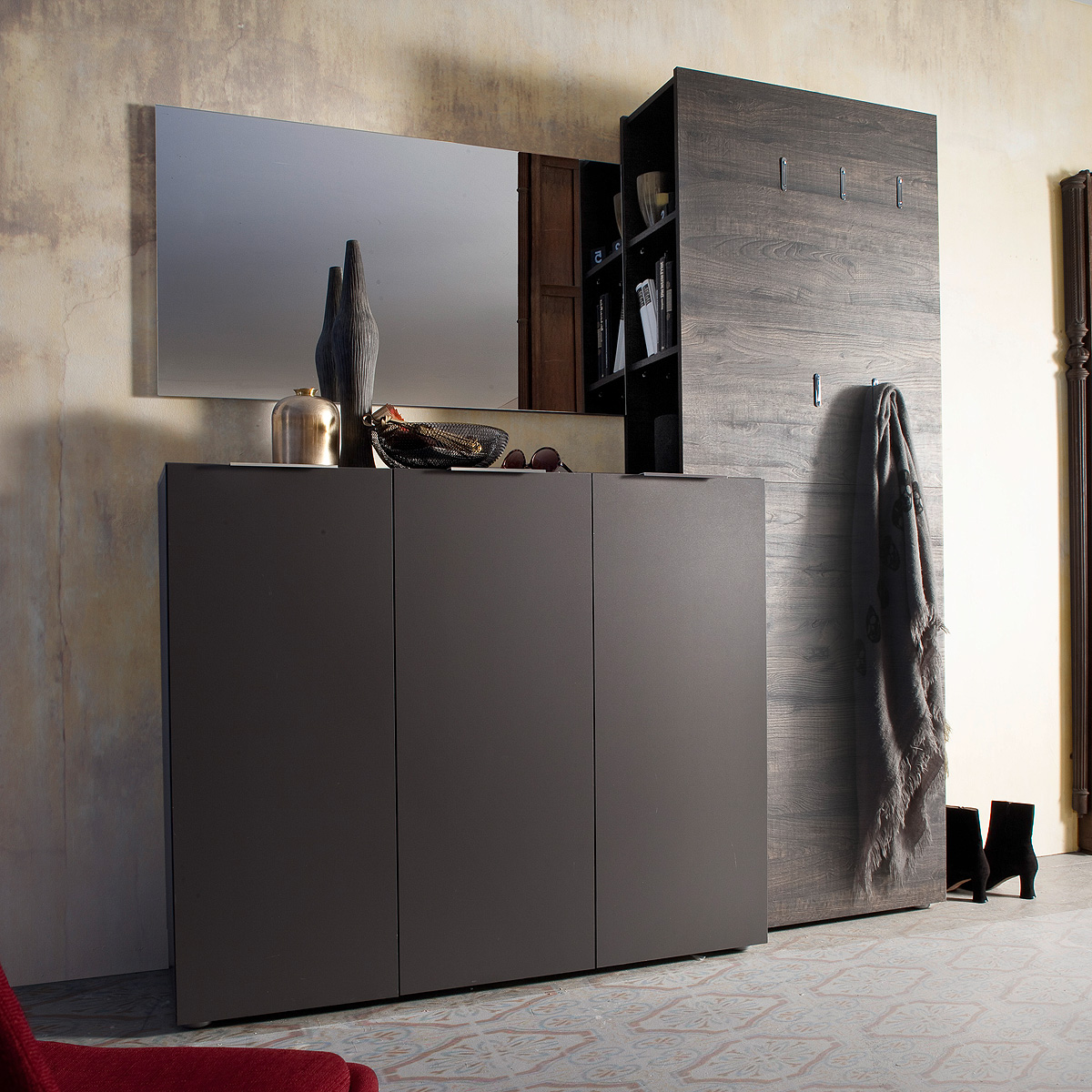 garderobenset 3 vicenza garderobe in anthrazit matt lackiert und wenge ebay. Black Bedroom Furniture Sets. Home Design Ideas