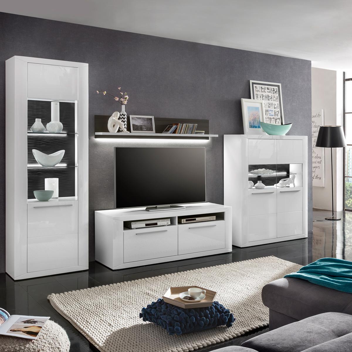 Wohnwand weiß grau hochglanz  Wohnwand Padua Anbauwand Wohnkombi in weiß Hochglanz und grau