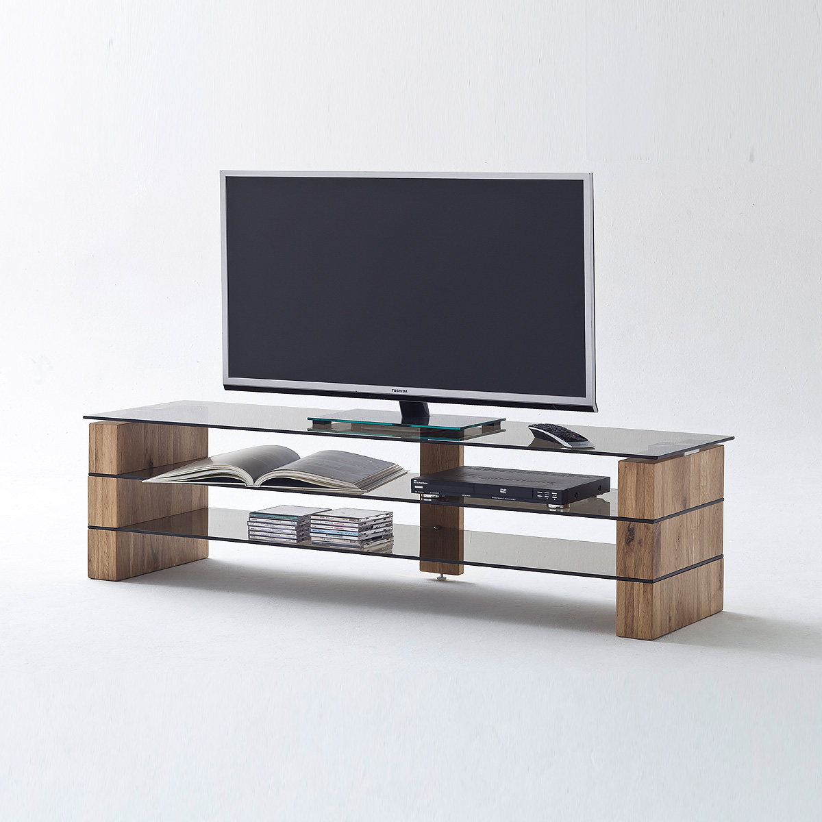 tv rack kari tv board lowboard in eiche massiv glas grau mit gr enauswahl ebay. Black Bedroom Furniture Sets. Home Design Ideas