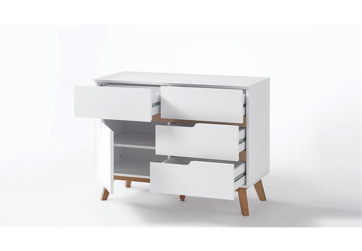 Kommode cervo sideboard anrichte schrank in wei matt lack for Kommode cervo