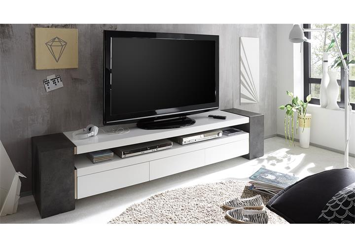 tv rack jule tv board lowboard unterschrank in wei matt lack und beton ebay. Black Bedroom Furniture Sets. Home Design Ideas