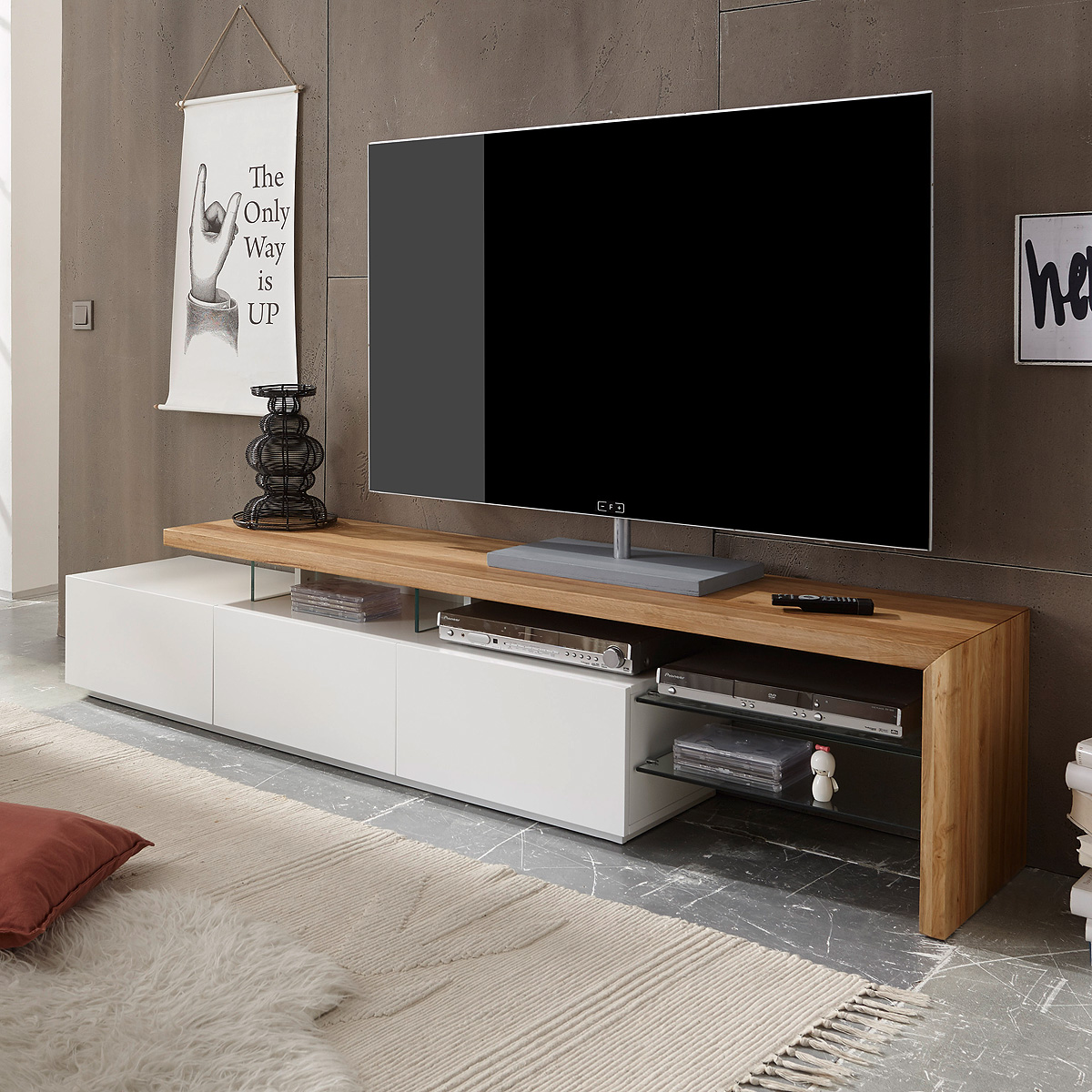 tv rack alimos tv board lowboard unterschrank wei matt lack eiche massiv eur 429 95 picclick de. Black Bedroom Furniture Sets. Home Design Ideas