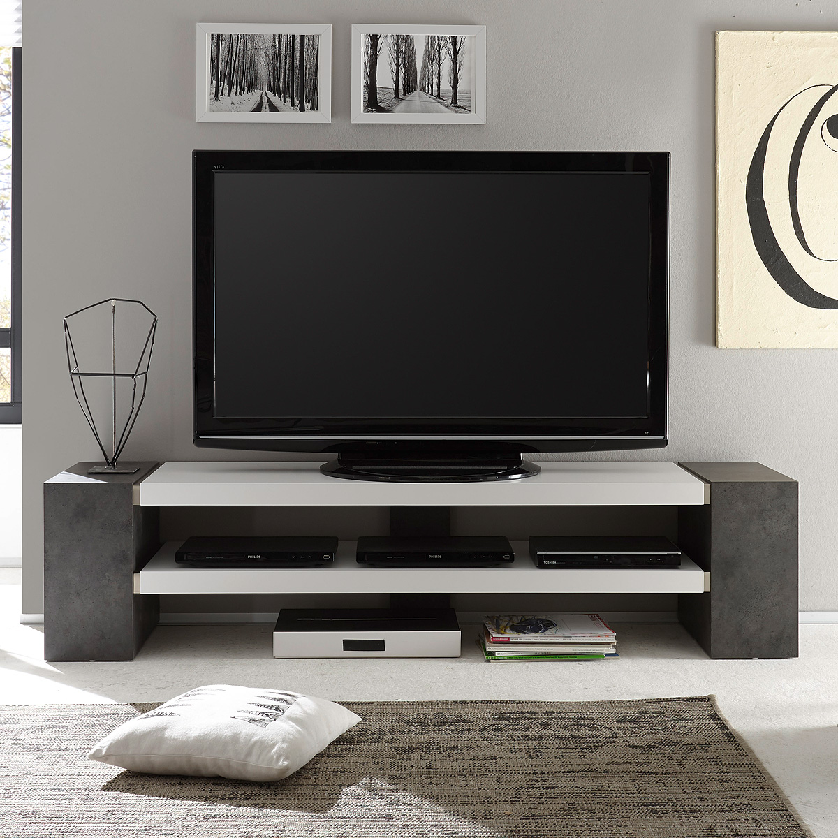 tv rack janes tv board lowboard in wei matt lack mit. Black Bedroom Furniture Sets. Home Design Ideas