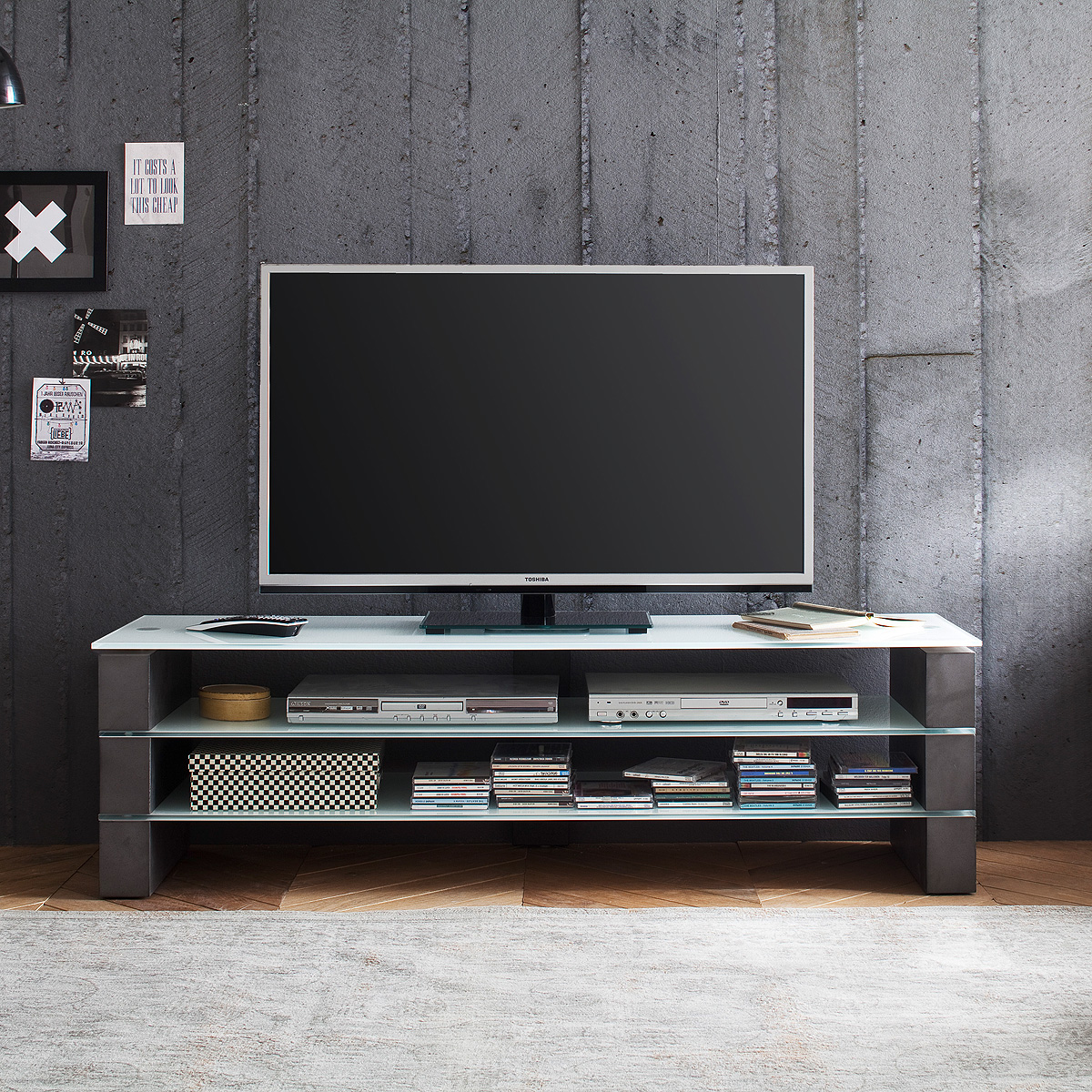 tv rack olivias tv board lowboard unterschrank in beton. Black Bedroom Furniture Sets. Home Design Ideas
