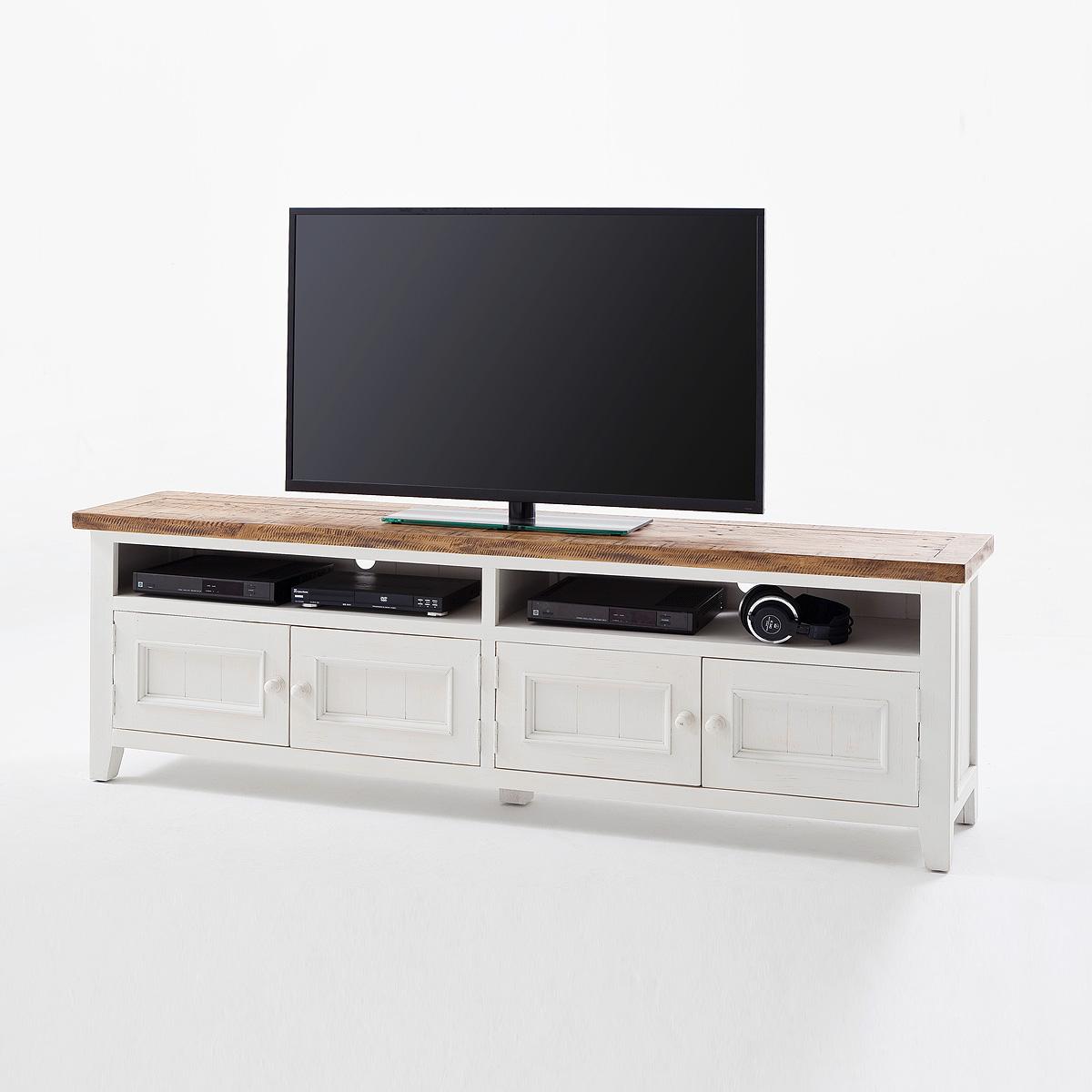 Tv board opus unterschrank lowboard in kiefer massiv weiß im ...
