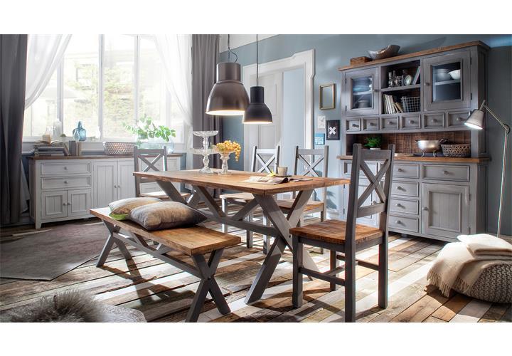 Tischgruppe byron tisch stuhl bank in kiefer massiv antik grau und ...