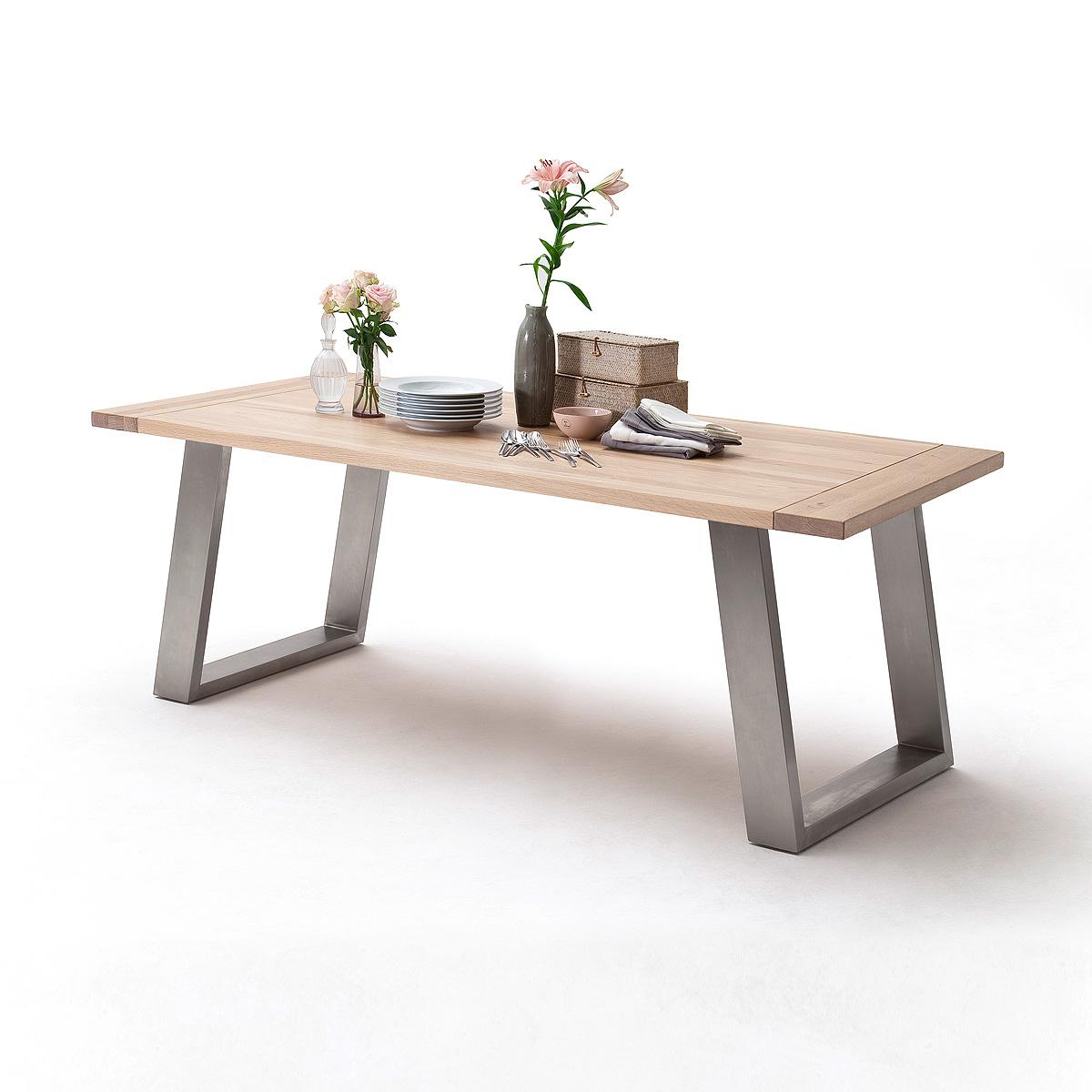esstisch almeida esstisch tischsystem eiche bianco massiv edelstahl auswahl 180 ebay. Black Bedroom Furniture Sets. Home Design Ideas